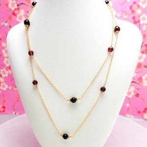 Red Garnet Opera Length Rosary Gold Necklace